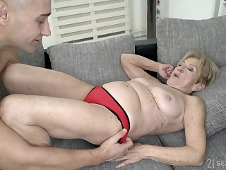 Mature mart granny Malya gets cum on her freckled circumstance