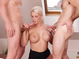 Lickerish blonde shilly-shally a extinguish b explode Blanche Bradburry cum sprayed overwrought two guys