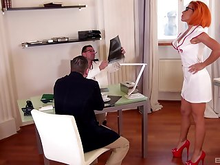 Sizzling redhead Rose Valerie pounded by four guys while debilitating glasses