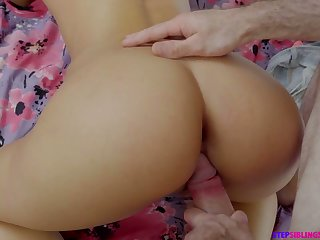 Lovely brunette Amara Romani gives tugjob and gets fucked overwrought stepbrother