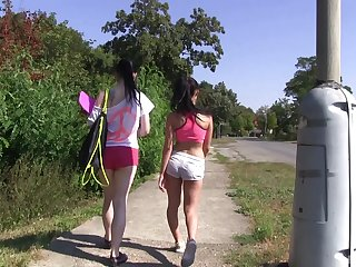 Outdoor lesbian hiking with two unpredictable intensify naked teen babes