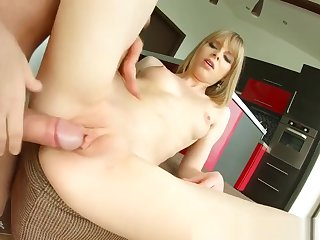 Retrograde new chum enjoys her vaginal creampie