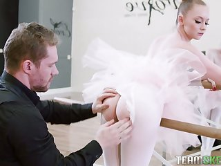Nice ballerina Athena Rayne gives a blowjob in bride pose with the addition of takes a cock in pinkish hole