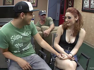 Slutty pale redhead pounds a gigolo with her man watching