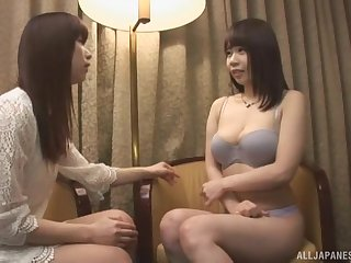 Oily lesbian strap on charge from with naturally busty Japanese babes