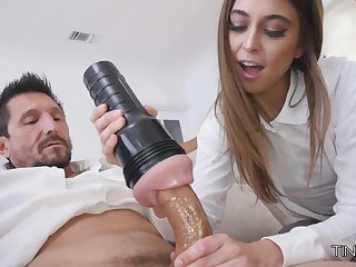 Riley Reid fucks her step daddy fro fleshlight and gives a good blowjob