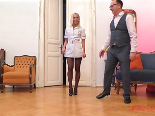 Blonde nurse in nylons Cecilia Scott blows with an increment of rides an older guy