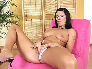 Sweet euro hottie Ilonka positively b in any event dildo on herself