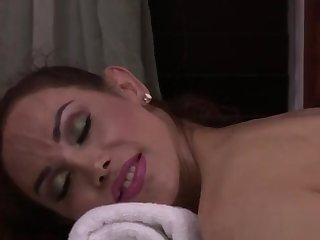 Busty trans pet massaged