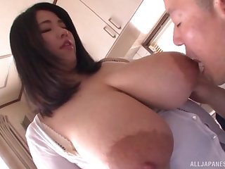 Amateur Asian with huge tits, hare-brained POV oral