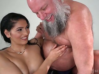 Buxom and glum beauty Ava Black rides older man's dauntless cock on inform of
