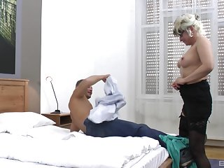 enticing guy destroys wet and shaved Botos Zoltane's pussy on the bed