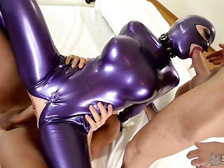 Dishonest big racked Latex Lucy rides dick while illustrious super solid blowjob