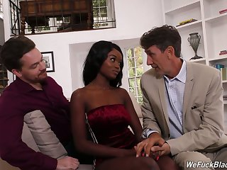 Miniature ebony latitudinarian Kandie Monaee is fucked hard by team a few sickly fellows