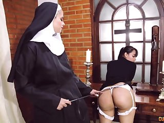 Risible nun lesbian fetish with two amazing women