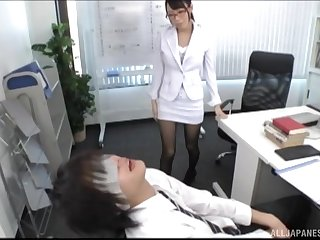 Japanese boss girl gives a rim job to a dude on the table with reference to her office