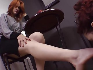 lesbian slut worships smoking Mistress's heels