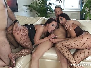 Bitches share cocks in horseshit swapping foursome mainly a couch