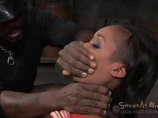 Gagged moonless gets her black master more down fuck her holes