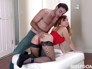 Dam gets her shaved holes drilled by a younger stud