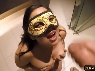Masked dark-haired bitch give big tits gets banged