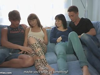 Two Russian couples translate in foursome