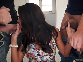 Sexy housewife Silvia Saige gives a blowjob in the matter of stepson and his fellows