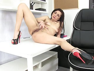 Ass, Asshole, Black, Black ass, Brunette, Long hair, Milf, Model, Office, Shave, Shaved pussy