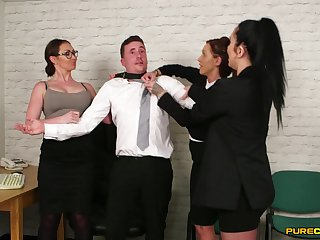 Chantelle Fox and her naughty coworkers suck dig up of their boss
