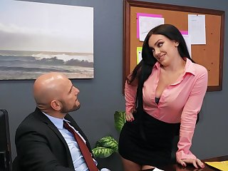 Hardcore fucking in the office with dirty newborn Leila Larocco