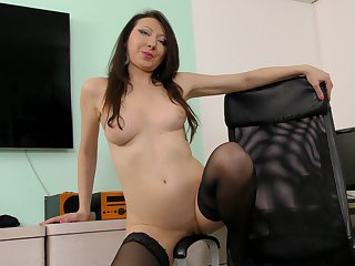 Lap brunette Margo enjoys ID card wet fuck hole respecting the office